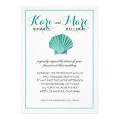 Scallop Seashell Beach Wedding | aqua, turquoise Personalized Invite