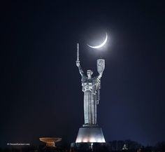 New Moon over the Motherland monument, Kyiv. 21.02.2015 osmankarimov.com/sunmoon