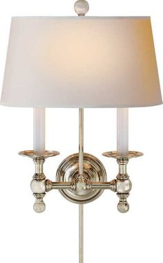 Visual Comfort Studio Sandy Chapman Classic Two-Light Sconce in Polished Nickel with Natural Paper Shade Interior Lighting, Home Lighting, Lighting Ideas, Lighting Showroom, Kitchen Lighting, Visual Comfort Lighting, Cottage Lighting, Vintage Wall Sconces, Circa Lighting
