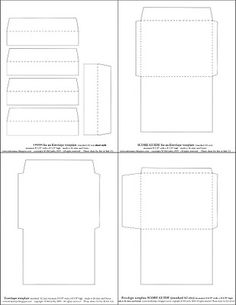 free envelope templates to fit a standard A2 card (measuring 4-1/4 x 5-1/2 inches) two styles and liners for each.