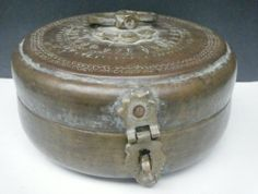 Small Old Brass Box Antique Vintage Rare Metal Chapati Roti Bread Box India #638