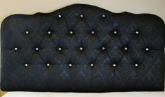 Black damask upholstered tufted headboard with diamond crystal buttons