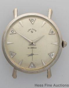 Vintage 14k White Gold Diamond Lord Elgin Retro Deco 21J Mens Wrist Watch #Elgin