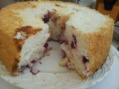 Raspberry angelfood cake