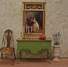 Rustic Country French Willow Green Carved Console 1/12th Scale Dollhouse Miniature Furniture  Bare til inspiration