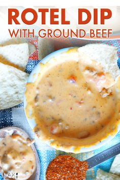 Rotel Dip with ground beef is made easy in the crock pot or the microwave! All you need is Velveeta cheese, ground beef, taco seasoning, Rotel, and milk! It's the ultimate party food and a great dip recipe for easy entertaining!