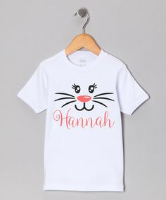 Look what I found on #zulily! White & Pink Bunny Face Personalized Tee - Toddler & Girls #zulilyfinds