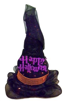 Lighted Deco Mesh Witch''s Hat #decomesh  #halloween
