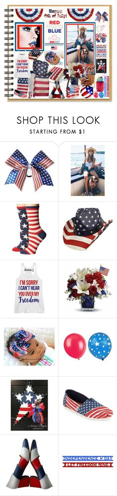 """Red, White & Blue  ""4th"""" by fantasiegirl ❤ liked on Polyvore featuring Socksmith, TOMS, Salvatore Ferragamo and Marc Jacobs"