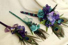 Peacock wedding flowers   Peacock Wedding Flowers 6 Piece Budget Bouquet Package Purple Teal ...