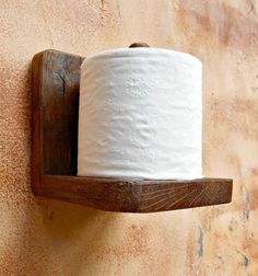 ADORABLE. Toilet Paper Holder Rustic Wood Tissue by RobsRusticCreations