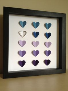 Purple Hearts, 3D Paper Art - perfect for a new baby. wedding date or anniversary. $35.00, via Etsy.