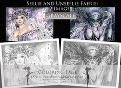 PRINTABLE, GRAYSCALE, Instant download, Digi stamp, Coloring page, Fairy, Art of Janna Prosvirina Coloring Books, Coloring Pages, Grayscale Image, Create Collage, Fairs And Festivals, Fairy Art, Digi Stamps, Collage Sheet, Craft Fairs