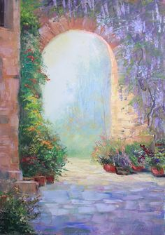 Italian patio - Original Oil Painting on canvas. x x Landscape art. Ready to ship Watercolor Landscape, Landscape Art, Landscape Paintings, Watercolor Paintings, Italian Patio, Creation Photo, Italian Artist, Background Pictures, Beautiful Paintings