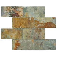 @Overstock.com - SomerTile 11.75x11.75-in Ridge Subway Sunset Slate Mosaic Tile (Pack of 5) - Bring the beauty of nature into any space with this beautiful mosaic set from SomerTile. Created with a blend of natural stone, these tiles add depth and complement many different decors.  http://www.overstock.com/Home-Garden/SomerTile-11.75x11.75-in-Ridge-Subway-Sunset-Slate-Mosaic-Tile-Pack-of-5/7575401/product.html?CID=214117 $79.99