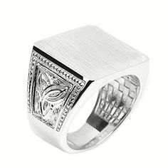 Mens 925 Sterling Silver Engravable Trinity Knot Square Top Signet Ring Size 12 >>> Check this awesome product by going to the link at the image.