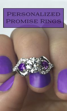 Personalize this stunning promise ring in silver, white gold, rose gold or yellow gold. The center stone, sparkling heart-shaped gemstones and accent stones can all be personalized in your favorite color or birthstones of the ones you love. With free ship