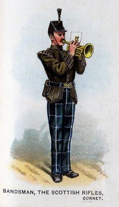 Scottish Rifles, Bandsman(Cornet), from Bands of the British Army by W. Gordon and illustrated by F. Military Uniforms, Military Art, British Uniforms, Cold Steel, British Army, Commonwealth, Rifles, Swords, 21st Century