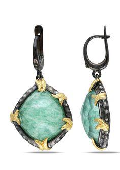 ICE.COM 32ct Green Aventurine and Fused Quartz Earrings $99.99