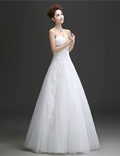 A-line Sweetheart Floor-length Wedding Dress (Tulle) – USD $ 149.99