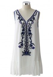 Beads and Sequins Embroidered Boho Dress
