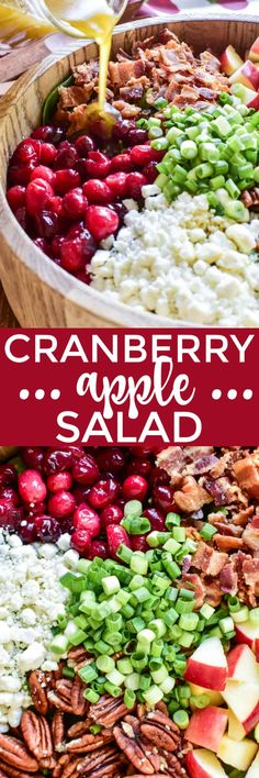 This Cranberry Apple Pecan Salad is one of our fall favorites! It's a delicious blend of sweet and savory flavors, and perfect for the holi. New Recipes, Holiday Recipes, Salad Recipes, Dinner Recipes, Cooking Recipes, Favorite Recipes, Healthy Recipes, Holiday Meals, Recipies