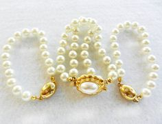 Special bride and bridesmaid-vintage 1960 3 bracelets,pearls and crystals for the bride and her bridesmaids -Art.212/2-