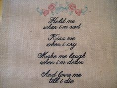 Burlap Block Wedding Quilt Anniversary Inspirational Saying Memento Pillow Top Embroidered Art Gift