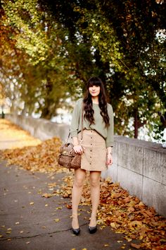 Skirt and sweater.