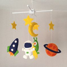 Space Mobile - Baby Mobile - Baby boy crib mobile - Cot Mobile -Nursery Decor - Boys Nursery - Space Nursery - Navy, green and orange