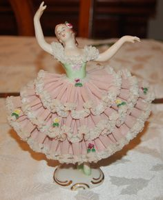 BEAUTIFUL GERMAN DRESDEN PORCELAIN LACE BALLERINA FIGURINE | eBay