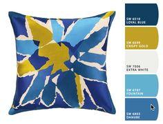 Found it at AllModern - Bellflower Embroidered Linen Throw Pillow Modern Throw Pillows, Blue Pillows, Floor Pillows, Decorative Throw Pillows, Blue And Yellow Living Room, Modern Color Schemes, Burke Decor, Pillow Sale, Joss And Main