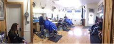 Bill's Barber Shop - Downtown Saline, MI - Busy day. Packed house just before close.