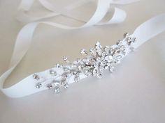Bridal Swarovski crystal belt Crystal belt sash by SabinaKWdesign Bride Belt, Wedding Sash Belt, Wedding Belts, Bridal Sash, Bridal Hair Pins, Wedding Dress, Crystal Belt, Ribbon Belt, Vestidos