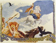 Norse mythology the Aurora Borealis is associated to the Valkyries – the immortal, female warriors. It was said that they would come galloping upon horses equipped with spears and armour that would glow in the darkness of the night's sky.