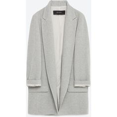 Zara Long Blazer ($100) ❤ liked on Polyvore featuring outerwear, jackets, blazers, long blazer, long length blazer, lined jacket, zara jacket and long line blazer