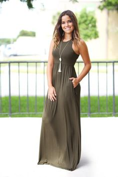 Get this beautiful Olive Maxi Dress with Pockets from Saved by the Dress Boutique. A must have maxi dress with pockets in an amazing fall color. So cute!