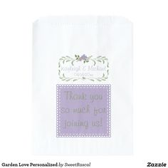 Garden Love Personalized Favor Bag