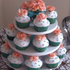 Pat the Bunny baby shower cupcakes with real flowers