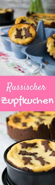 Diesen Kuchen lieben nicht nur Kinder. Russischer Zupfkuchen mit Osterhasen Flecken.