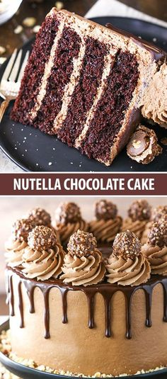 – Layers of dark chocolate cake and Nutella buttercream topped with chocolate ganache! – Layers of dark chocolate cake and Nutella buttercream topped with chocolate ganache! Nutella Chocolate Cake, Chocolate Cake Recipe Easy, Dark Chocolate Cakes, Chocolate Cookie Recipes, Easy Cookie Recipes, Chocolate Chip Cookies, Nutella Icing, Hot Chocolate, Oreo Icing