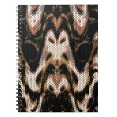 Brown Cream and Black Abstract Reptilian Pattern Notebook - patterns pattern special unique design gift idea diy