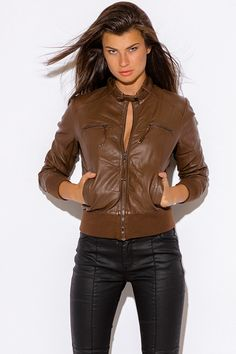 ed3c0e7d68 This Trendy And Edgy Faux Leather Moto Jacket Is A Must Have Of The Season.