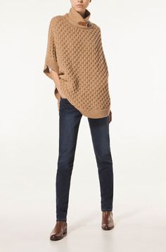 Massimo Dutti CABLE KNIT CAPE WITH LEATHER BUCKLE - New - New Season - WOMEN - Spain