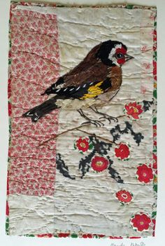 Unframed appliqued goldfinch with embroidery on by MandyPattullo