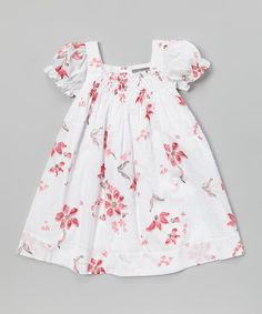 Another great find on #zulily! White & Pink Floral Shirred Dress - Infant & Toddler by Les Petits Soleils by Fantaisie Kids #zulilyfinds