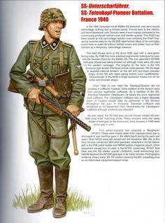 """SS Untersharfuehrer, Pioniere battalion, Waffen SS 3a Panzerdivision """"Totenkopf"""", Francia 1940"""