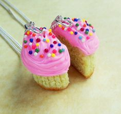 polymer clay cupcake best friend bff friendship necklaces