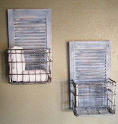 made from shutters and an old metal milk basket.I have shutters, now to find the milk baskets. Diy Shutters, Window Shutters, Window Frames, Bedroom Shutters, Repurposed Shutters, Kitchen Shutters, Plastic Shutters, Farmhouse Shutters, Furniture Makeover