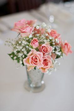 Mini Pink Roses Centerpiece but with red